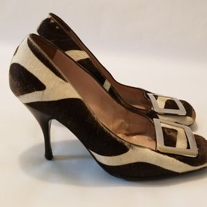 VTG Celine Zebra Print wide toe thick buckle pump